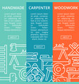 carpenter woodwork posters in linear style vector image vector image