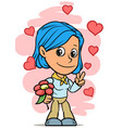 Cartoon girl character with red flower and hearts