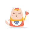 Character maid apron with a bow colorful flat vector image