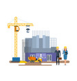 chief engineer inspect cinema under construction vector image vector image