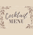 cocktail menu on brown with leaves and dots vector image