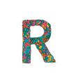colorful ornamental alphabet letter r font vector image