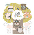 cute animals sit on spring tree on white vector image vector image