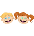 Cute Boy And Girl Heads Smiling vector image