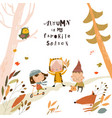 cute cartoon children having fun in autumn forest vector image vector image