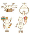 cute kawaii robots character set delivery drones vector image vector image