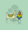 cute lamas in love greeting card for your design vector image vector image