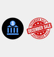 dollar bank icon and distress december sale vector image vector image