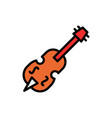 double bass filled line icon vector image vector image