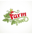 Farm food lettering with tomato sprout with flower vector image vector image