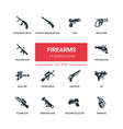 firearms - flat design style icons set vector image