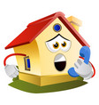 house is talking on phone on white background vector image