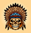 indian angry skull isolated vector image vector image