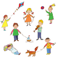 Kids playing cute cartoons vector image