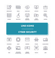 line icons set cyber security vector image vector image
