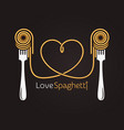 love spaghetti concept pasta with fork on black vector image