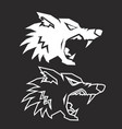 lowpoly outline wolf head silhouette isolated vector image