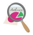 Magnifier and paper document icon cartoon style vector image