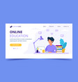 man with laptop landing page education or working vector image vector image