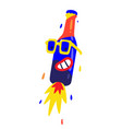 merry bottle in yellow glasses flat character for vector image vector image