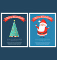 merry christmas set of posters with santa claus vector image vector image