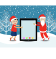 Merry christmas with Santa Claus and kids vector image vector image