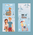 people vacation set lets do and time to travel vector image