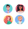 set mix race people profile avatars beautiful man vector image vector image