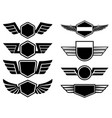 set of winged emblems design element for poster vector image vector image