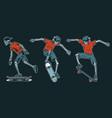 set skeletons skateboarders vector image vector image