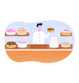 shop assistant working and selling fresh cakes vector image