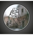 SIng of man in protective suit vector image