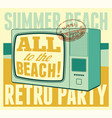 summer beach retro party typographical poster vector image vector image