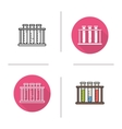 Test tubes rack icons vector image vector image