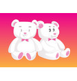 two cute teddy bears in love female and male vector image
