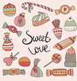 valentines day card with set doodle candy vector image