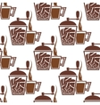 Vintage coffee mills with cups seamless pattern vector image vector image