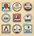 vintage colored traveling marks set vector image vector image