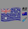 waving australia flag collage ampoule items vector image vector image