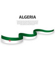 waving ribbon or banner with flag algeria