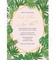 wedding invitation in a gold frame against a backg vector image vector image