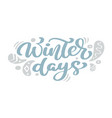 winter days blue christmas vintage calligraphy vector image vector image