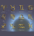 zodiac symbols gold icons with shadow on sky vector image