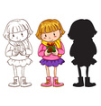 A little girl holding a gift vector image