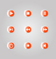 a set of glass buttons of a media player vector image vector image