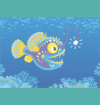 anglerfish hunting deep in a sea vector image