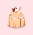 baked cake with sweet berries cookies nuts vector image
