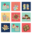 bakery doodle colorful square box vector image vector image
