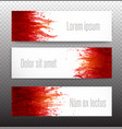 banners with red blood splashes on realistic paper vector image vector image