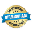 Birmingham round golden badge with blue ribbon vector image vector image